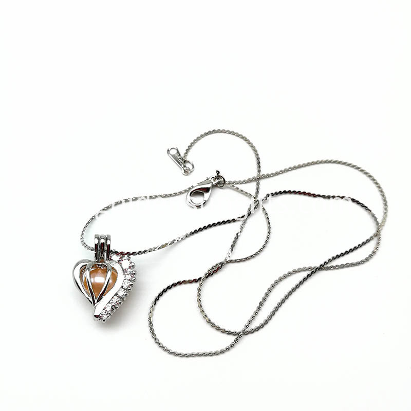 Heart Shape Sterling Silver Cage Pendant