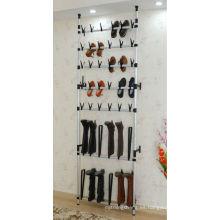 Zapatero de alambre montado en la pared para 30 pares, bastidores con ruedas giratorias