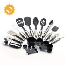 Ensemble d'outils de cuisson en 22 pièces avec ustensiles de cuisine en nylon et poignée ferme