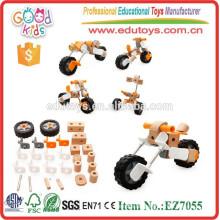 Neueste Entwurfs-Zusammenbau-Motorrad-Spielwaren Soem-Kind-hölzerne pädagogische Großhandelsaufbau-Spielwaren EZ7055