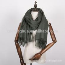 army green herringbone cashmere shawl for women
