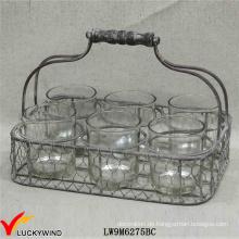 Rustikaler Votivkerzenhalter 6 runde Gläser im Drahtkorb