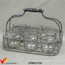 Rustic Votive Candle Holder 6 Round Jars in Wire Basket