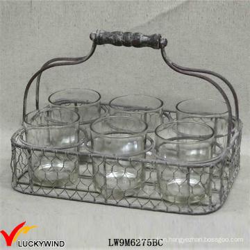 Rustic Votive Candle Holder 6 Round Jars in Wire Basket