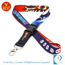 High Quality Customized Logo Heat Transfer Impresso cordão com fivela de plástico para o pessoal