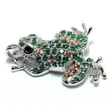 Moda forma sapo cz cúbicos zircão jóias pingente para colar