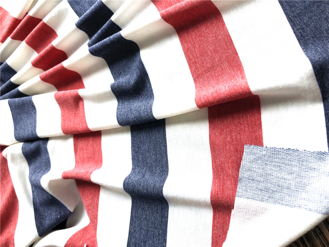 hotselling striped printed french terry fabric