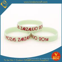 Alta qualidade branco impresso borracha aniversário silicone pulseira (ln-037)