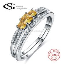 2017 neue Modell 925 Silber Ring mit gelbem Zirkon hohe Qualität 925 italienische Silber Ring Großhandel
