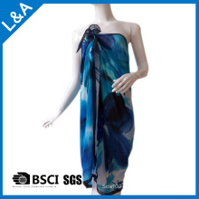 Polyester Chiffon Printed Scarf for Women Blue