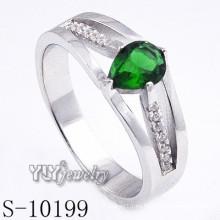 925 plata esterlina verde zirconia mujeres anillo (s-10199)