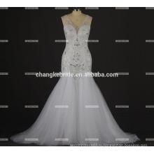 Русалка шику свадебное платье без рукавов 2016 с бисером лиф русалка юбка