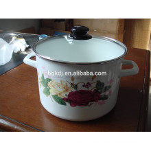 Enamel High Stock Pot with hollow handle decals and glass lid Enamel High Stock Pot with hollow handle decals  and glass lid