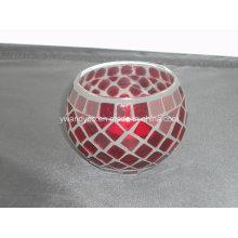 Suporte de vela de vidro vermelho mosaico