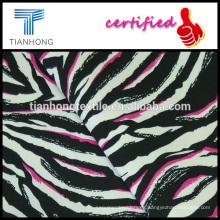 cebra diseño tejido algodón tela cruzada del spandex elastano impresa tela de estiramiento de pitillo
