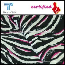 Zebra design tissé coton sergé spandex élastane imprimé tissu stretch pour pantalon skinny