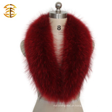 Grande capa natural de capim de pele de guaxinim para casaco de pelagem com colar de pele revestida de casaco