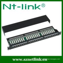 19 pouces STP Black Cat6 24Port 1U Patch Panel