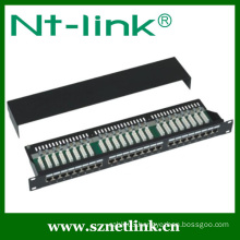 19 Inch STP Black Cat6 24Port 1U Patch Panel