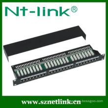 19 Inch STP Black Cat6 24Port 1U Patch Panel