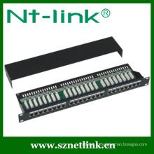 Патч-панель 19 дюймов STP Black Cat6 24Port 1U
