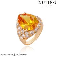 13336 Xuping atacado 18k anel banhado a ouro com uma grande cor de champanhe sintético Cz