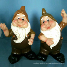 Lovely Polyresin Statue Dancing Dwarf for Garden Decoration