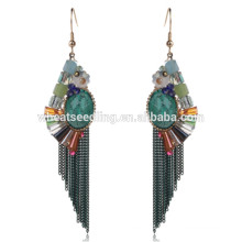 hot beautiful green tassel latest hanging bridal daily wear earrings