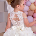 2017 New Arrival High Quality Lace Appliques Tiered Ball Gown Flower Girl Dress Lace up Custom Made Floor Length with Sash