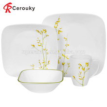 Factory sale white unbreakable square ceramic dinner set with green decal