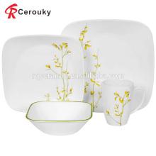 Fábrica venda branco inquebrável quadrados cerâmica jantar conjunto com decalque verde