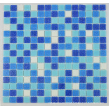 Hotel Pool Used Classical Mosaic Tile Ocean Blue Mixed Melt Glass Mesh