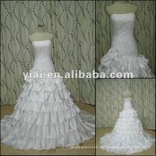 JJ2735 späteste Kleid-Entwürfe weißes Ballkleid-Satin-überzogenes Brauthochzeitskleid