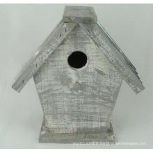 Maison en bois anti-corrosion gris-blanc