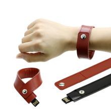 Pulseira de couro unidade flash USB unidade de memória de pulso