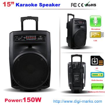Battery Trolley Speaker with LED Light USB FM Radio DVD