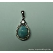 Natural Larimar Sterling Silver Pendant (P0345)