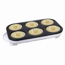 1,500W Crepe Maker, 6 Cake Molds, Nonstick Coated Heating Plate