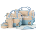 2017 usine approvisionnement sac à couches ensemble 5 pcs ensemble Haute capacité mode sac à couches signle épaule diagonale cross bébé sac à couches