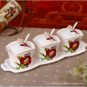 Jarra de cerâmica bonita porcelana spice jar para cozinha