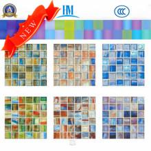 Espessura de tamanho pequeno Mosaico de vidro de 4mm / Colorido / Piscina / TV Mosaico de parede / vidro