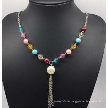 Bunte Perlen Perlen Pullover Halskette (XJW13754)