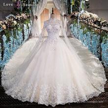 LS00169 haute cou de haute qualité en dentelle perles femmes robes de mariée longue robe de mariée blanche