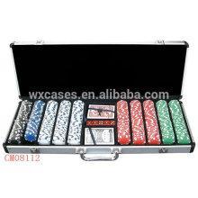 Nova chegada forte alumínio caso 500 fichas de poker