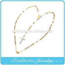 2016 de alta calidad de acero inoxidable de tres tonos de oro jesús crucifijo 4 mm cuentas collar de cadena rosario