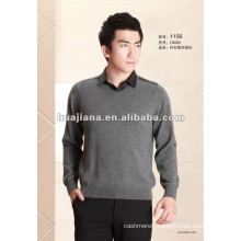 2014 fashion men's shirt collar 100% cashmere sweater