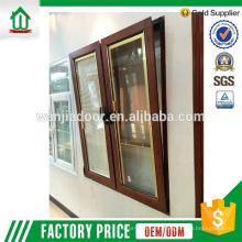 Wanjia fábrica de pvc plástico verde diseño de la ventana de vidrio teñido
