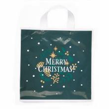 Green Plastic X-mas Handle Gift Shopping Logo Bag