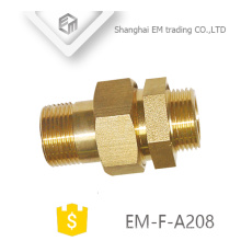 EM-F-A208 NPT male thread brass adapter pipe fitting with haxagon nut