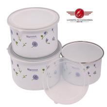 3PCS 210d Чаша нового стиля из эмалированной посуды с крышкой PP